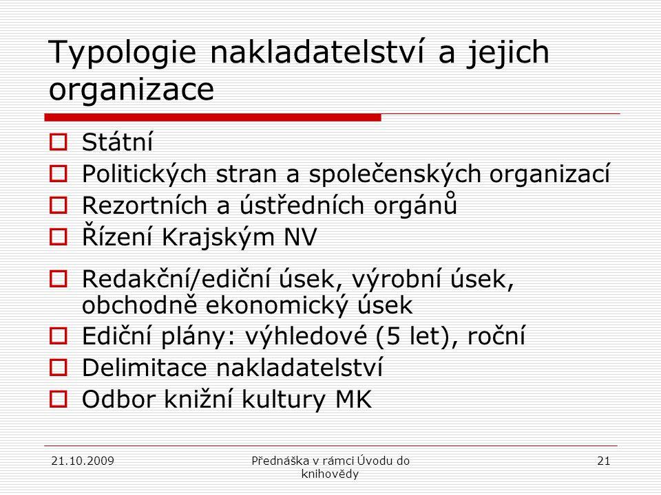 Typologie nakladatelství a jejich organizace