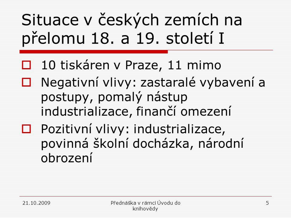 Situace v českých zemích na přelomu 18. a 19. století I