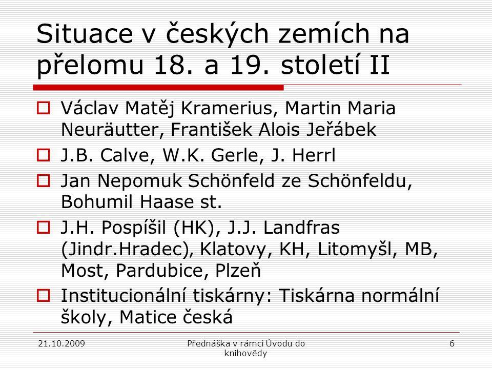 Situace v českých zemích na přelomu 18. a 19. století II
