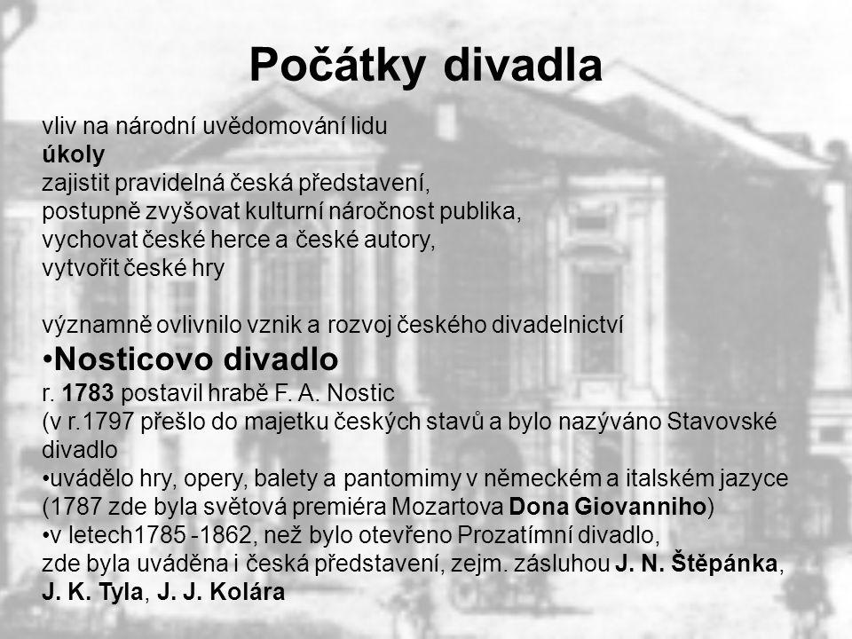Počátky divadla vliv na národní uvědomování lidu. úkoly. zajistit pravidelná česká představení, postupně zvyšovat kulturní náročnost publika,