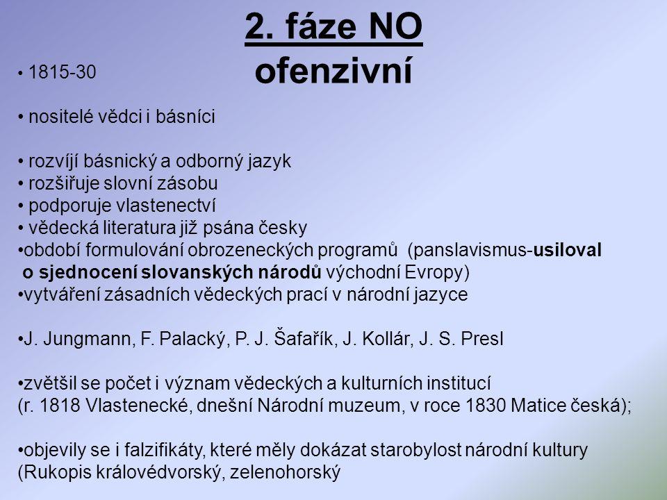 2. fáze NO ofenzivní nositelé vědci i básníci