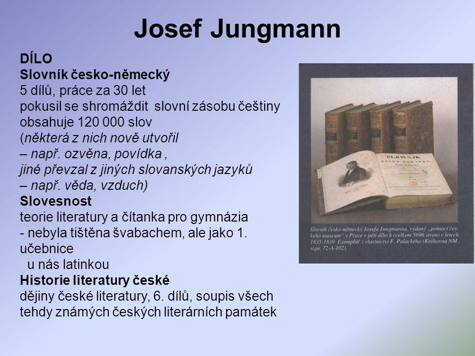 Josef Jungmann DÍLO Slovník česko-německý 5 dílů, práce za 30 let