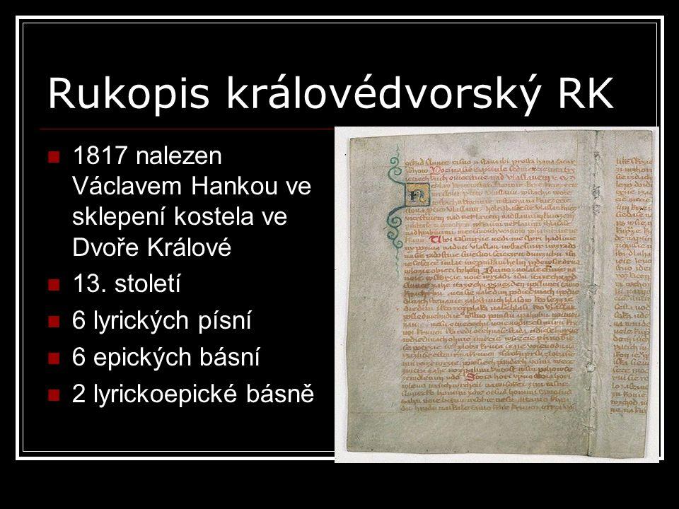 Rukopis královédvorský RK
