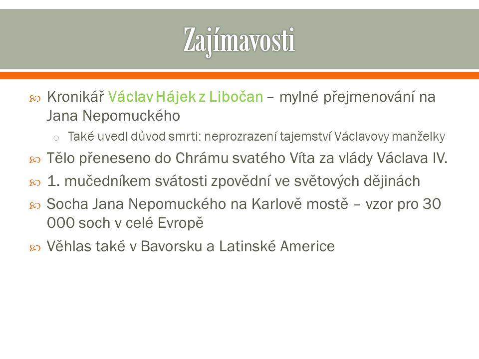 Zajímavosti Kronikář Václav Hájek z Libočan – mylné přejmenování na Jana Nepomuckého.