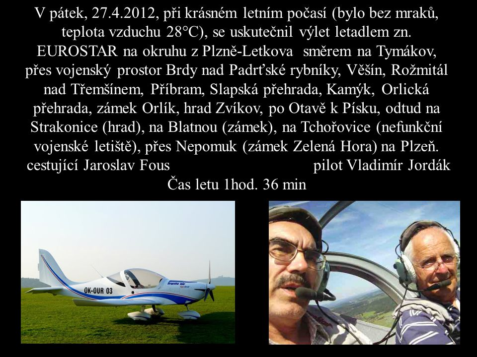 cestující Jaroslav Fous pilot Vladimír Jordák