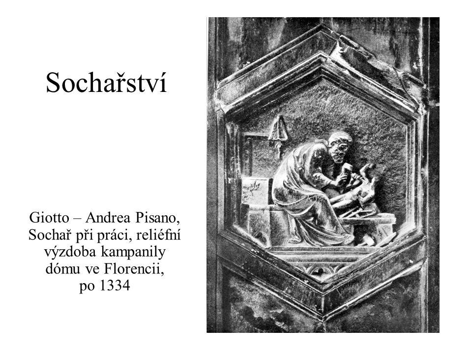 Sochařství Giotto – Andrea Pisano, Sochař při práci, reliéfní výzdoba kampanily dómu ve Florencii, po 1334.