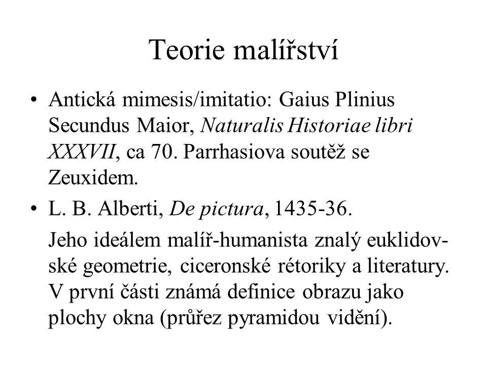 Teorie malířství Antická mimesis/imitatio: Gaius Plinius Secundus Maior, Naturalis Historiae libri XXXVII, ca 70. Parrhasiova soutěž se Zeuxidem.