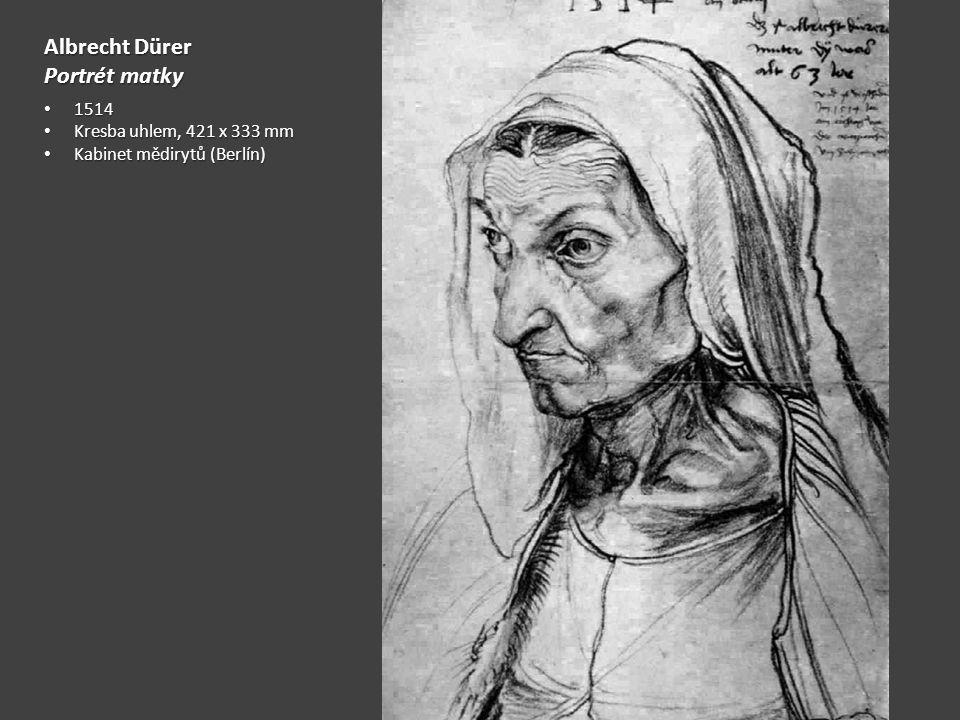 Albrecht Dürer Portrét matky 1514 Kresba uhlem, 421 x 333 mm