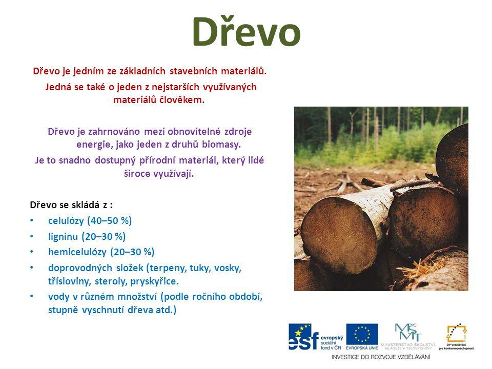 Dřevo Dřevo je jedním ze základních stavebních materiálů.