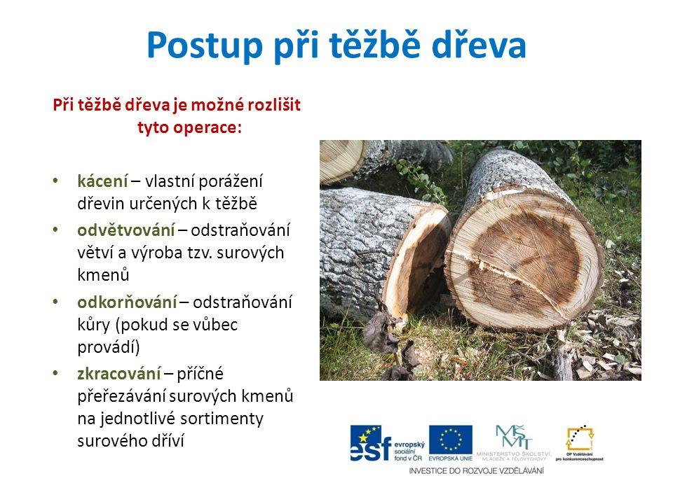 Při těžbě dřeva je možné rozlišit tyto operace: