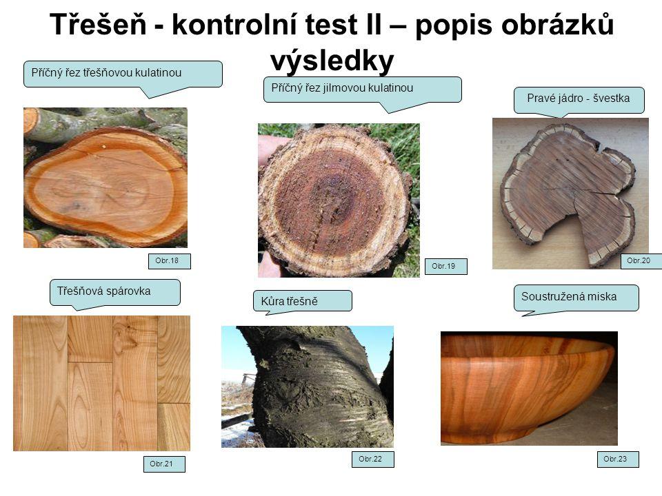 Třešeň - kontrolní test II – popis obrázků výsledky