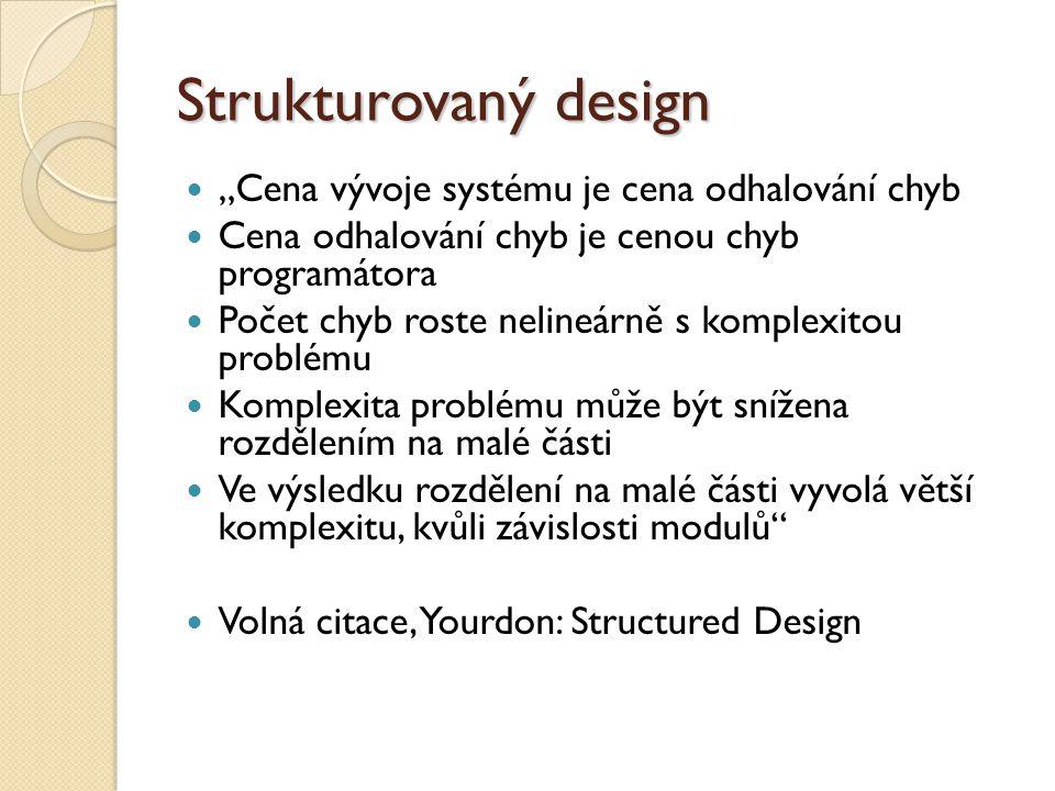 """Strukturovaný design """"Cena vývoje systému je cena odhalování chyb"""