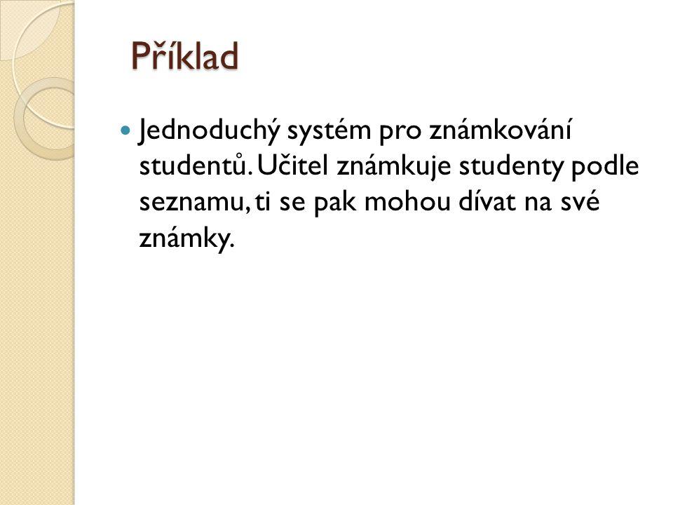 Příklad Jednoduchý systém pro známkování studentů.
