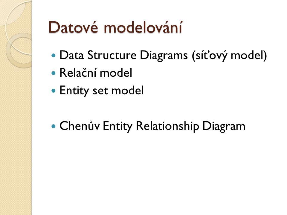 Datové modelování Data Structure Diagrams (síťový model) Relační model