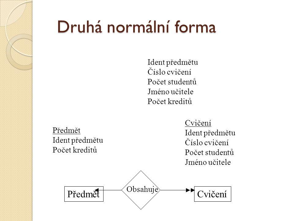 Druhá normální forma Předmět Cvičení Ident předmětu Číslo cvičení