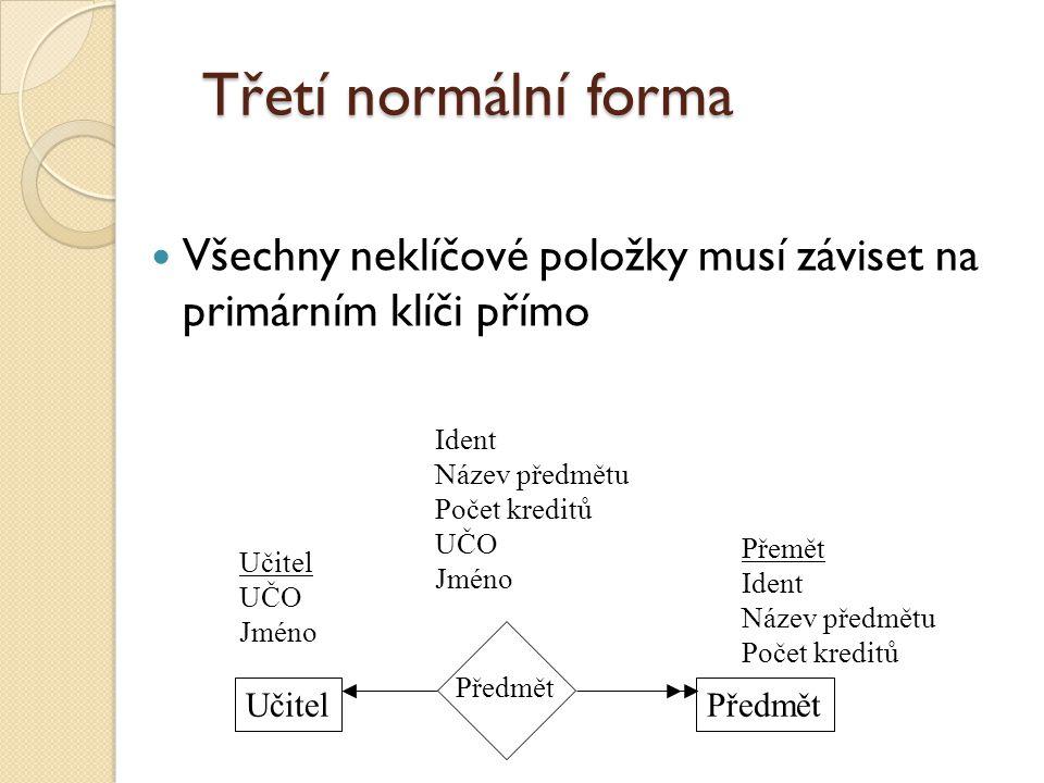 Třetí normální forma Všechny neklíčové položky musí záviset na primárním klíči přímo. Ident. Název předmětu.