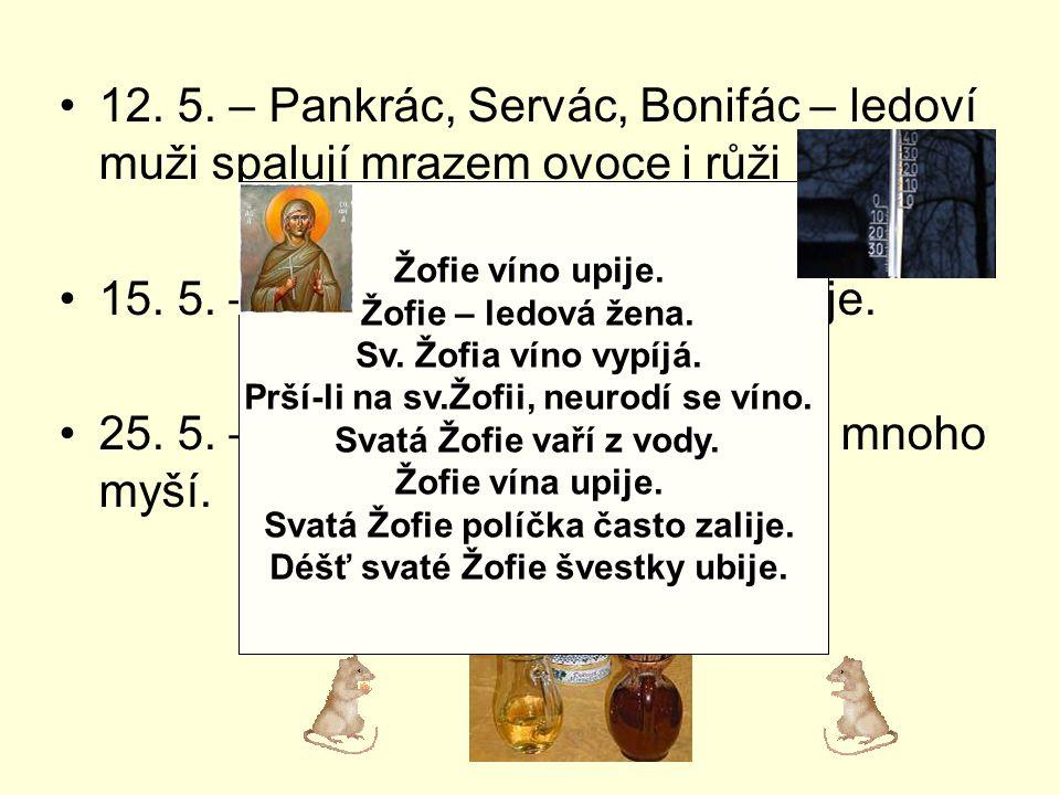 15. 5. – Sv. Žofie políčka často zalije.