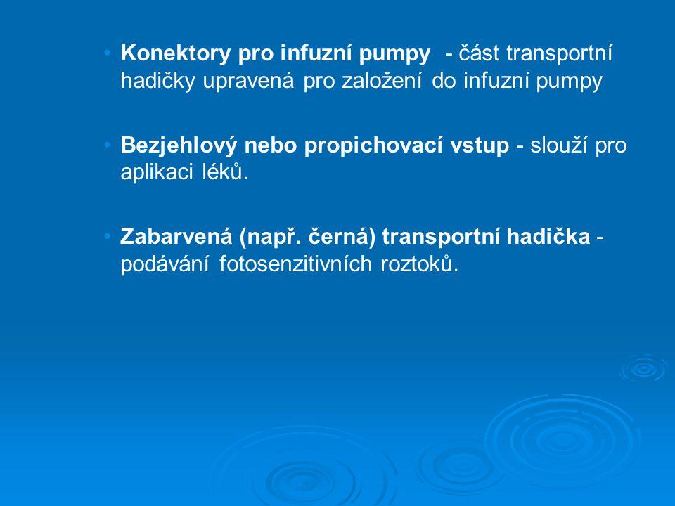 Konektory pro infuzní pumpy - část transportní hadičky upravená pro založení do infuzní pumpy