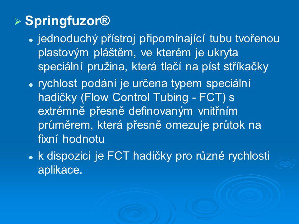 Springfuzor® jednoduchý přístroj připomínající tubu tvořenou plastovým pláštěm, ve kterém je ukryta speciální pružina, která tlačí na píst stříkačky.