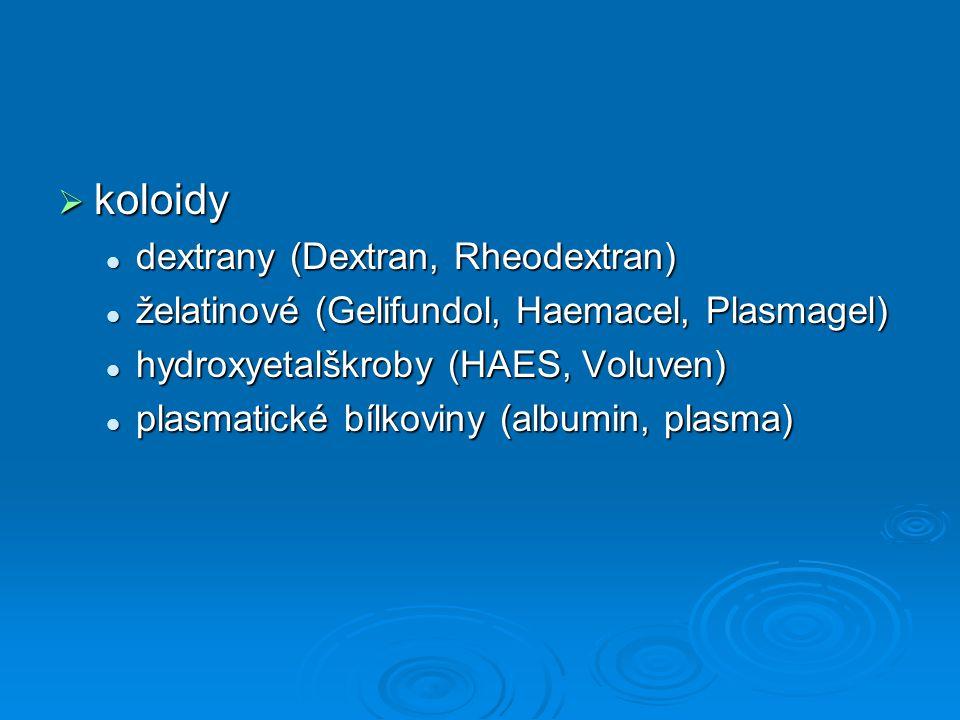 koloidy dextrany (Dextran, Rheodextran)