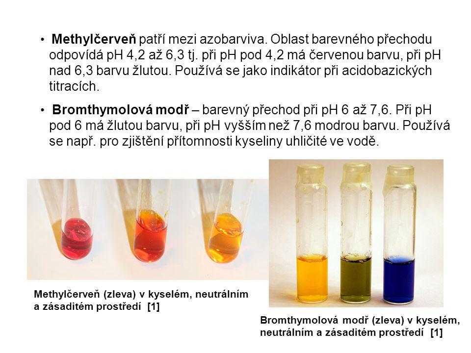 Methylčerveň patří mezi azobarviva. Oblast barevného přechodu