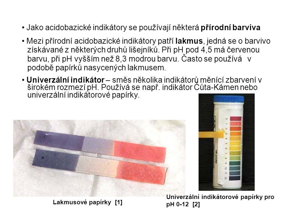 Jako acidobazické indikátory se používají některá přírodní barviva