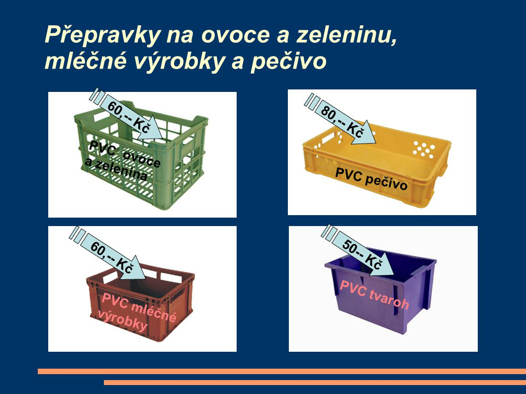 Přepravky na ovoce a zeleninu, mléčné výrobky a pečivo