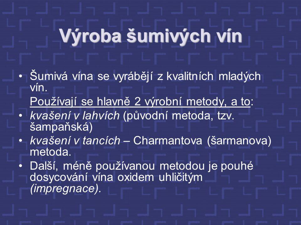 Výroba šumivých vín Šumivá vína se vyrábějí z kvalitních mladých vín.