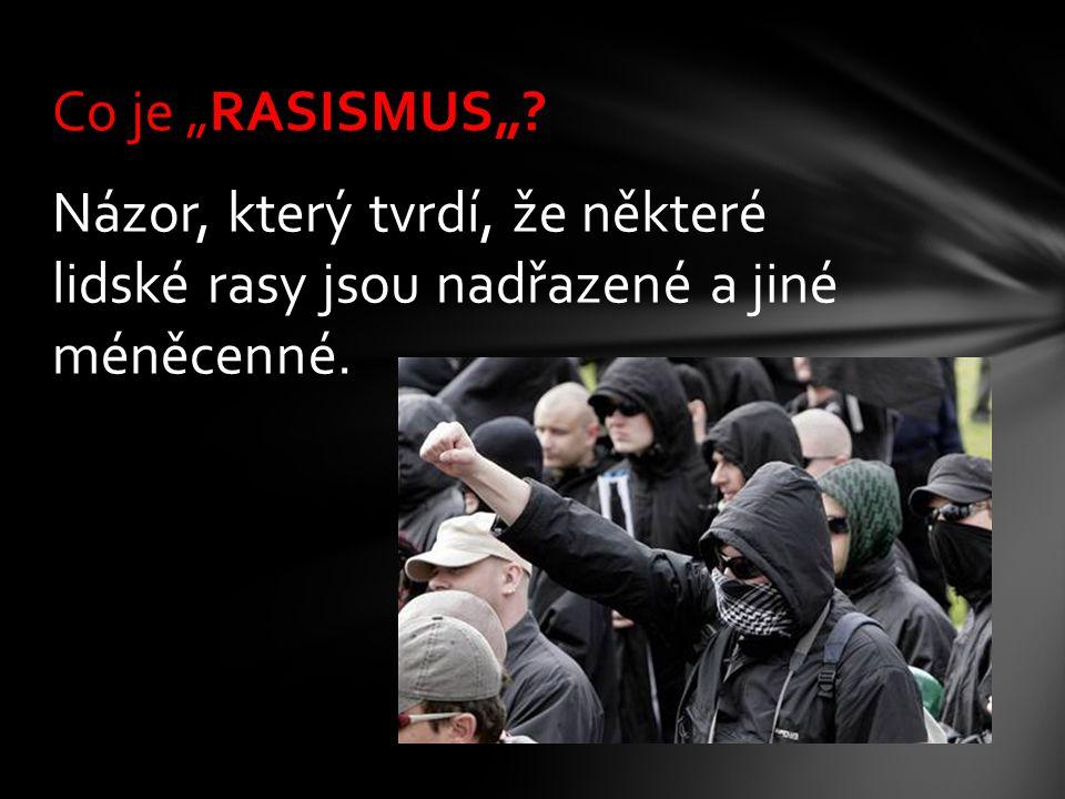 """Co je """"RASISMUS"""" Názor, který tvrdí, že některé lidské rasy jsou nadřazené a jiné méněcenné."""