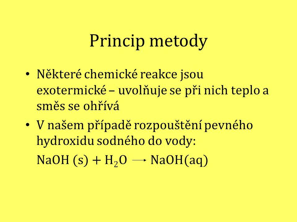 Princip metody Některé chemické reakce jsou exotermické – uvolňuje se při nich teplo a směs se ohřívá.