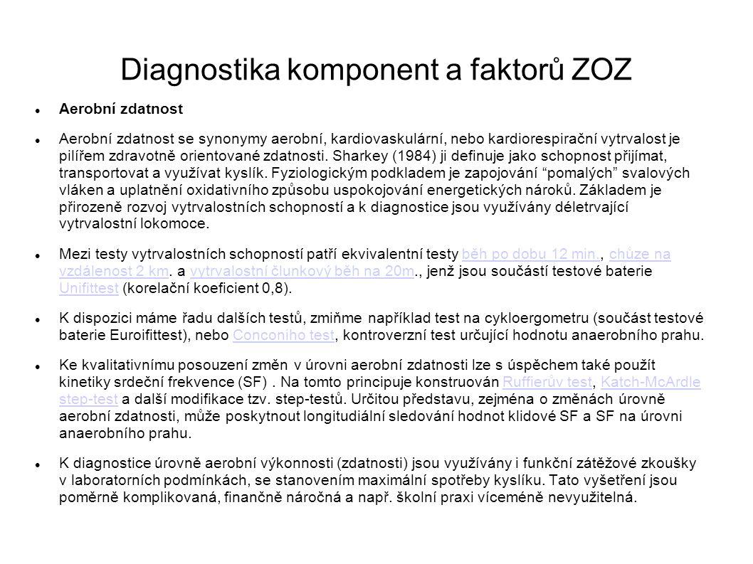 Diagnostika komponent a faktorů ZOZ