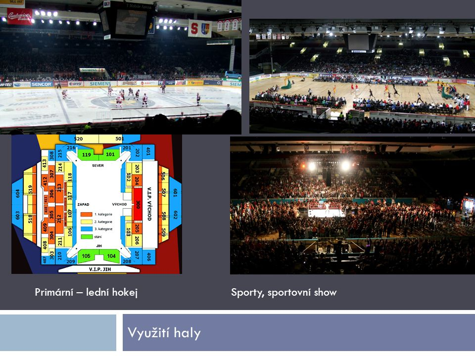 Primární – lední hokej Sporty, sportovní show Využití haly
