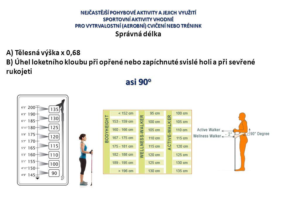 asi 90o Správná délka A) Tělesná výška x 0,68