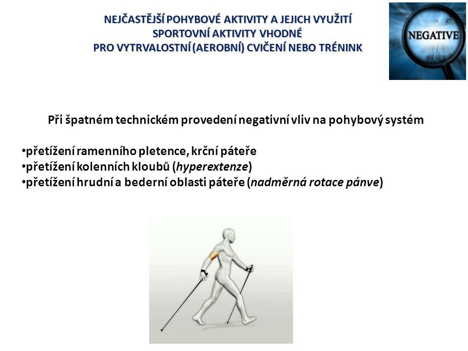 Při špatném technickém provedení negativní vliv na pohybový systém
