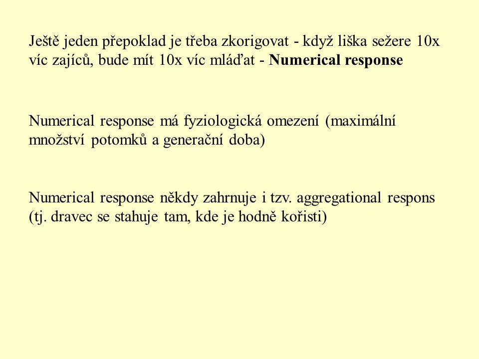 Ještě jeden přepoklad je třeba zkorigovat - když liška sežere 10x víc zajíců, bude mít 10x víc mláďat - Numerical response