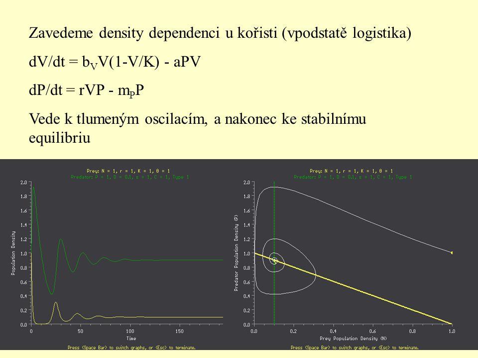 Zavedeme density dependenci u kořisti (vpodstatě logistika)