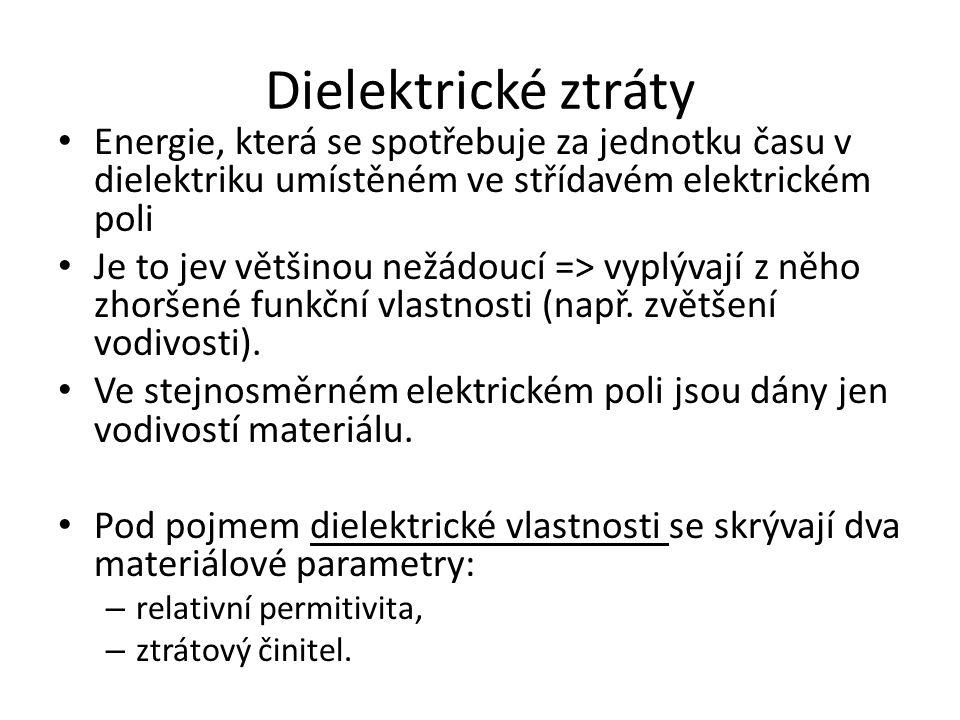 Dielektrické ztráty Energie, která se spotřebuje za jednotku času v dielektriku umístěném ve střídavém elektrickém poli.