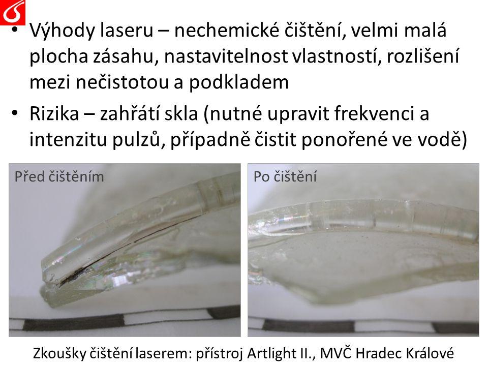 Zkoušky čištění laserem: přístroj Artlight II., MVČ Hradec Králové