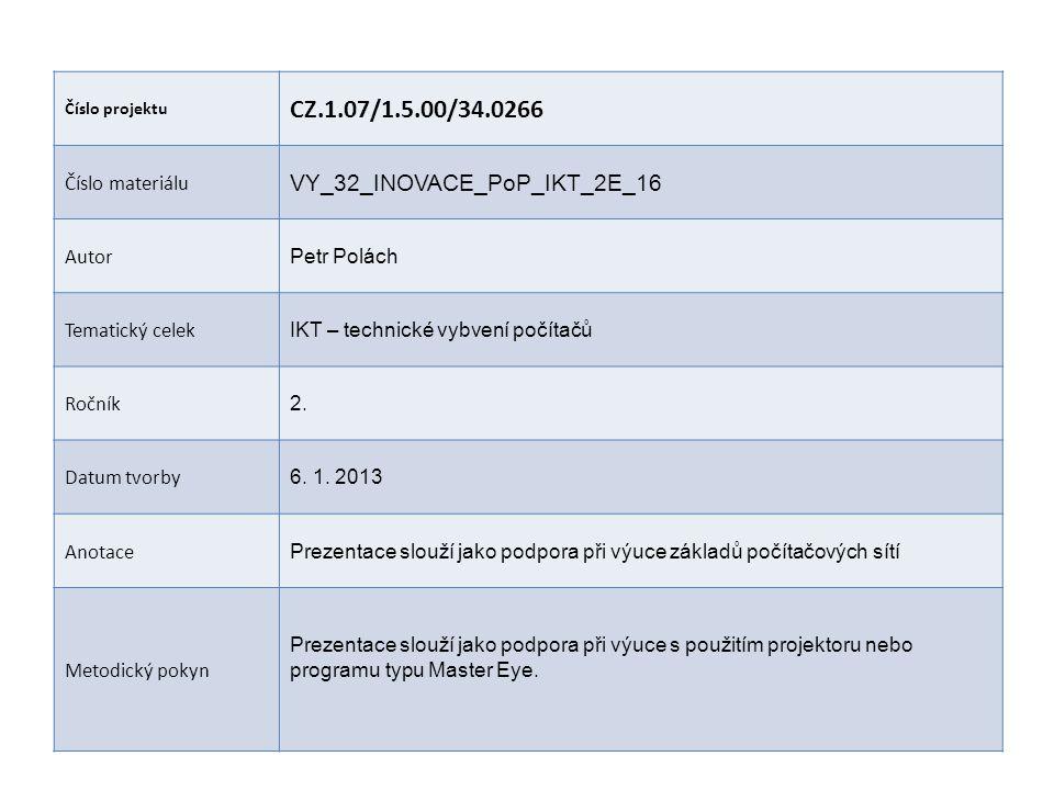 CZ.1.07/1.5.00/34.0266 VY_32_INOVACE_PoP_IKT_2E_16 Číslo materiálu