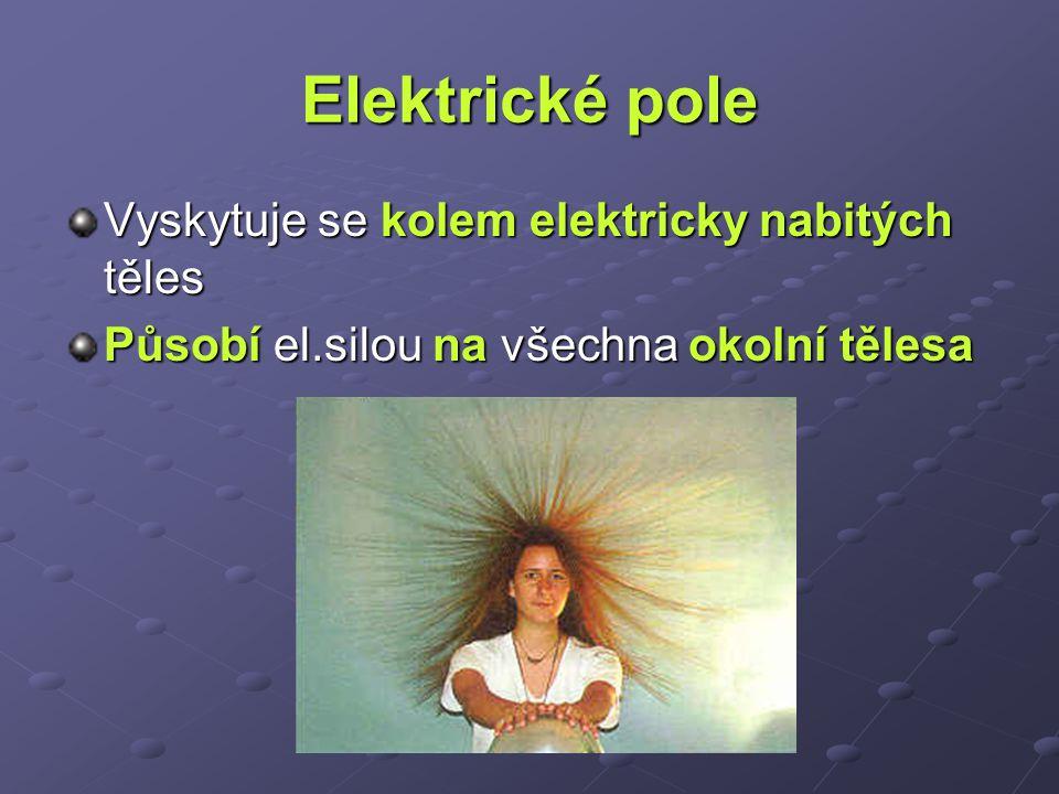 Elektrické pole Vyskytuje se kolem elektricky nabitých těles
