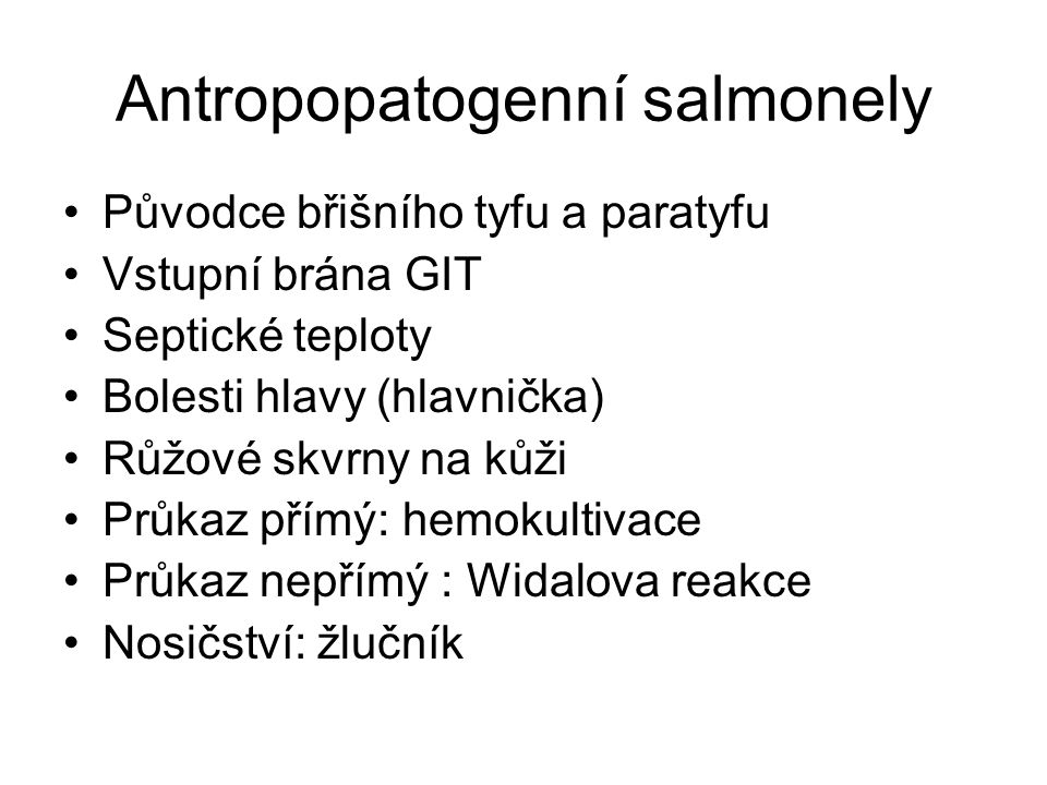 Antropopatogenní salmonely