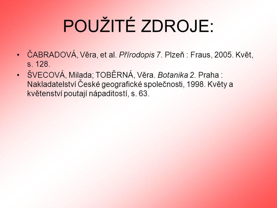 POUŽITÉ ZDROJE: ČABRADOVÁ, Věra, et al. Přírodopis 7. Plzeň : Fraus, 2005. Květ, s. 128.