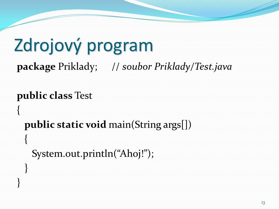 Zdrojový program package Priklady; // soubor Priklady/Test.java