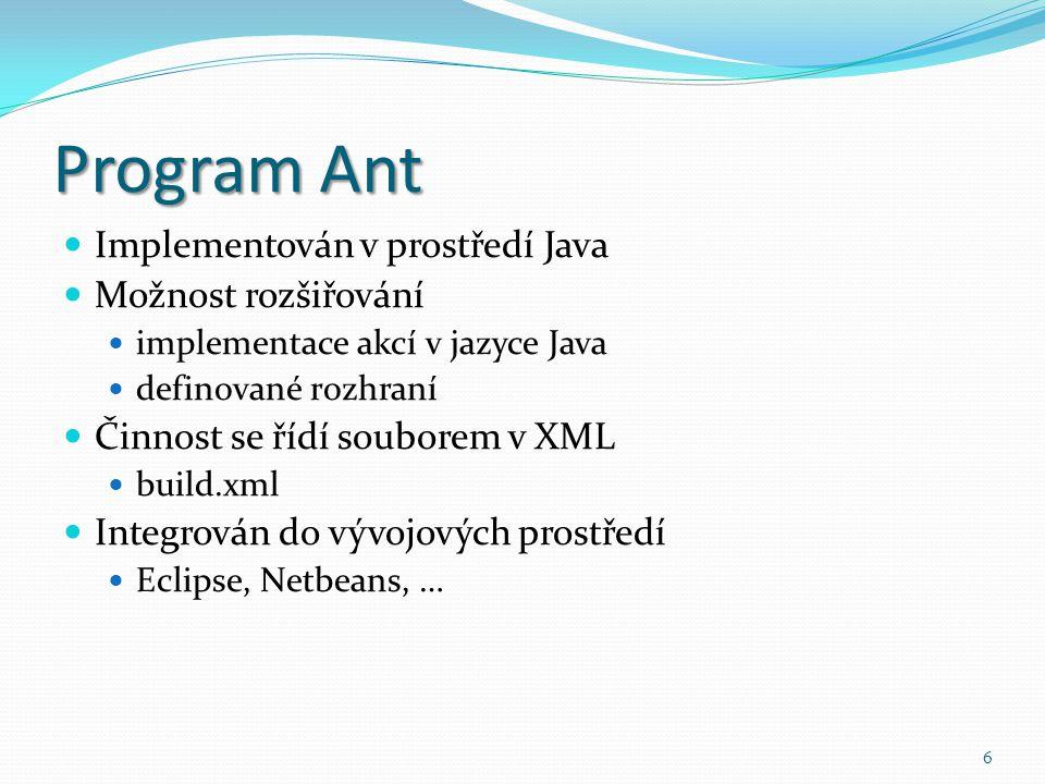 Program Ant Implementován v prostředí Java Možnost rozšiřování