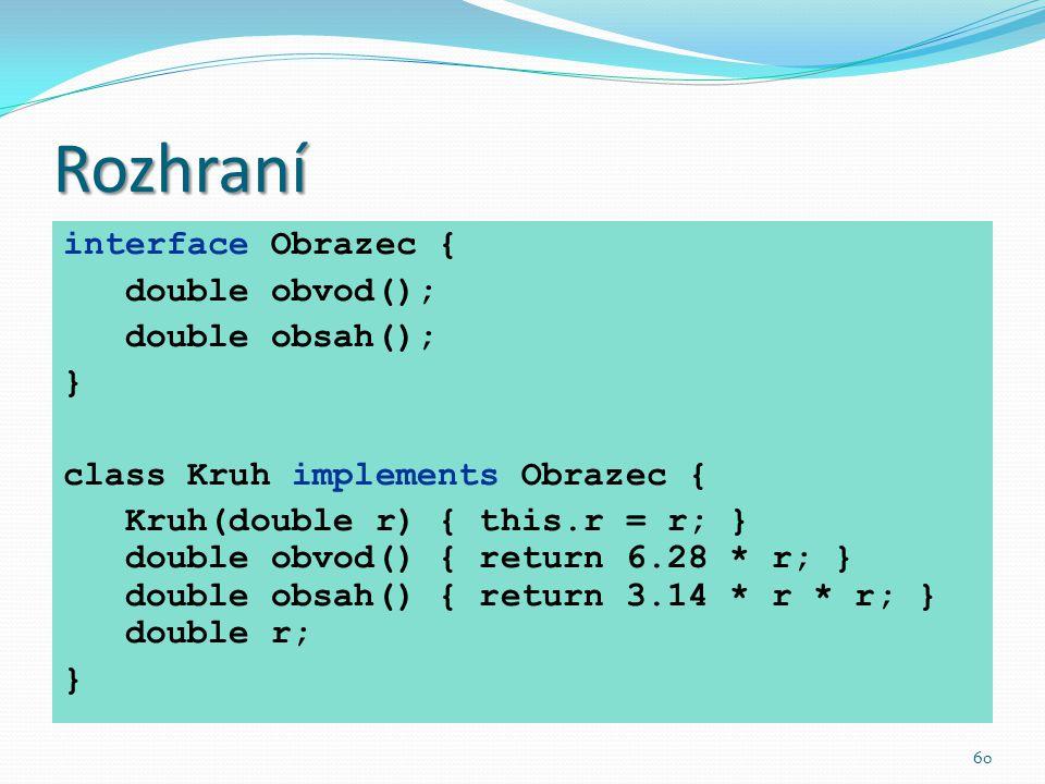 Rozhraní interface Obrazec { double obvod(); double obsah(); }
