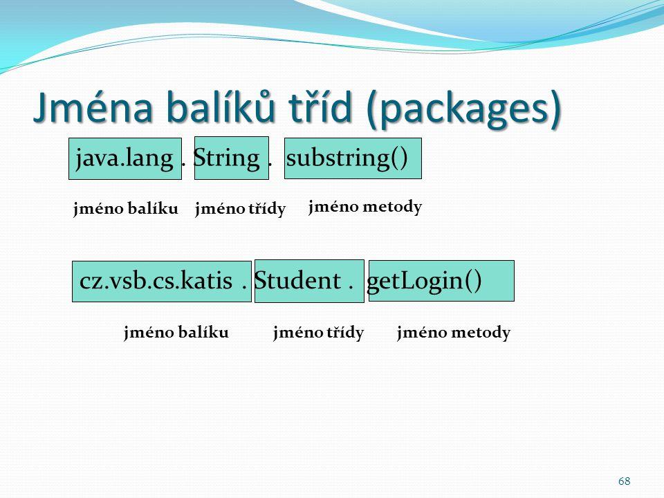 Jména balíků tříd (packages)