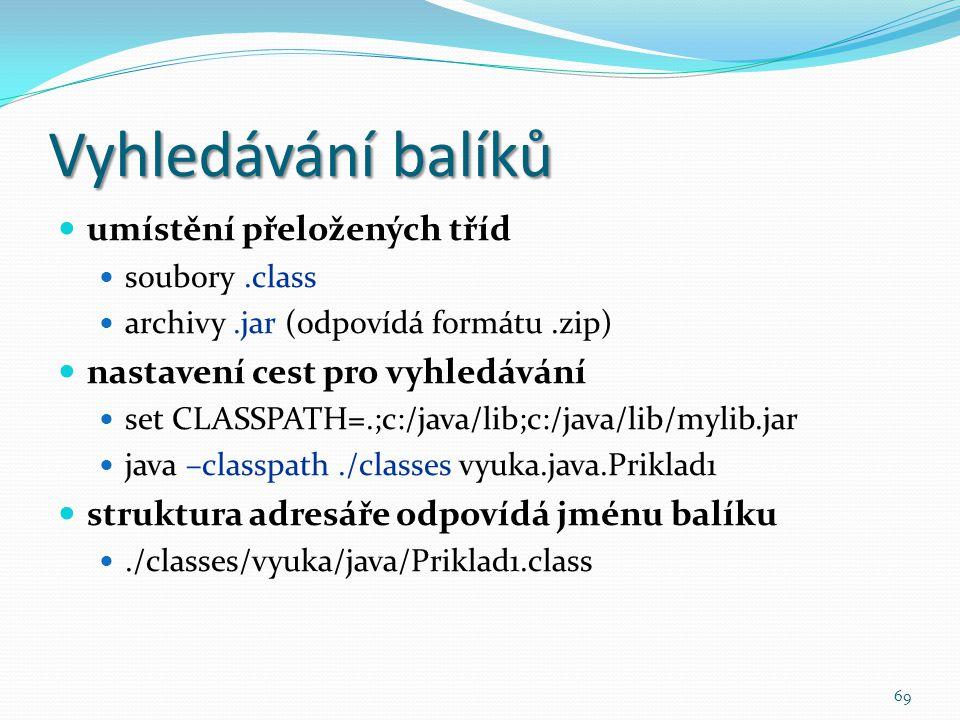 Vyhledávání balíků umístění přeložených tříd