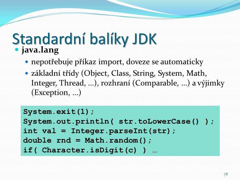 Standardní balíky JDK java.lang