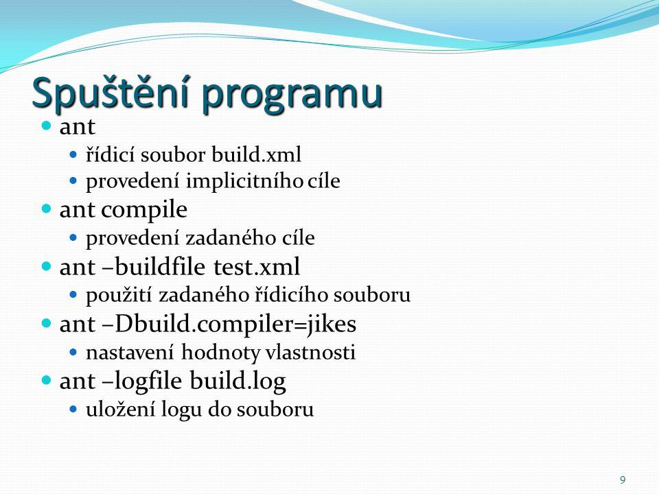 Spuštění programu ant ant compile ant –buildfile test.xml