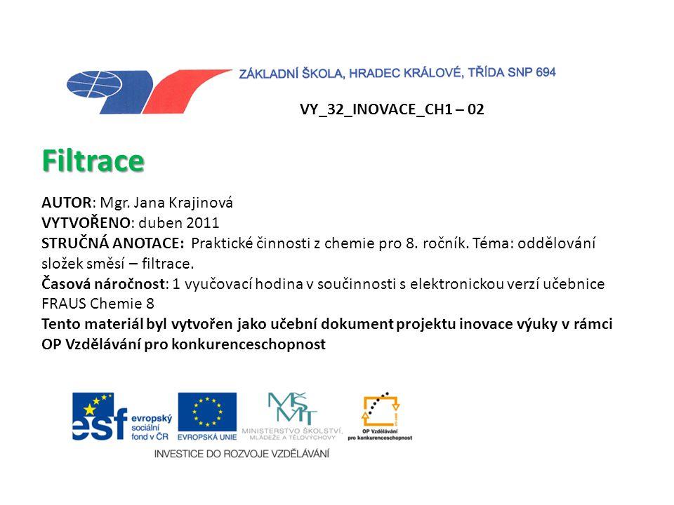 Filtrace VY_32_INOVACE_CH1 – 02 AUTOR: Mgr. Jana Krajinová